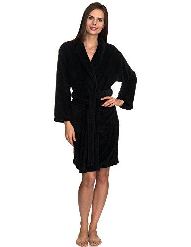 TowelSelections Women's Robe, Plush Fleece Short Spa Bathrobe X-Small Black (Hooded Robe Short)