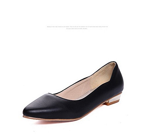 Pointed Black BalaMasa Flats Heels Low Toe Cut Uppers Ladies Shoes Square Urethane Ow1YwnqPU