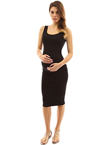 PattyBoutik Mama Tie-Dye/Solid Scoop Neck Maternity Tank Dress (Black Small)