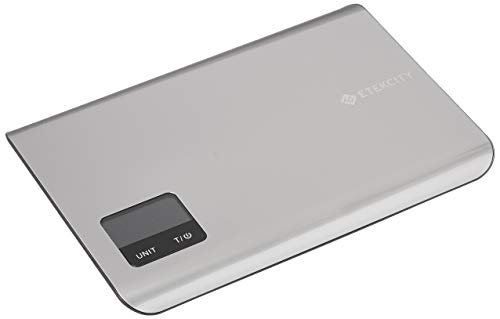 Etekcity Kitchen Digital Nourish Multifunction Touch Scale,11 lb 5 kg, Food Grade 304 Stainless Steel (Batteries Included), large, silver (Lb Steel)