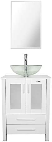 24 Bathroom Vanity and Sink Combo Stand Cabinet,MDF Board Cabinet,Tempered Glass Vessel Sink,Round Clear Sink Bowl,1.5 GPM Water Save Chrome Faucet,Solid Brass Pop Up Drain, W Mirror A16B02W