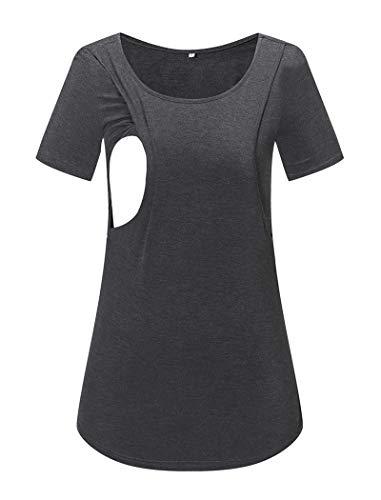 Ecavus Women's Maternity Layered Nursing Tops Long Sleeve Casual T-Shirt Comfy Breastfeeding Clothes