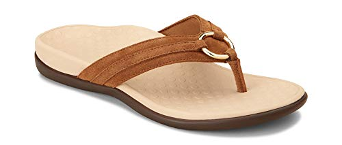 Aloe Heavenly - Vionic Women's Tide Aloe Toe-Post Sandal - Ladies Flip- Flop with Concealed Orthotic Arch Support Toffee Suede 5 M US
