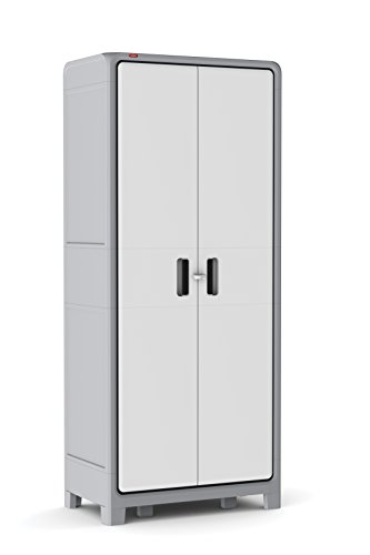 Keter Optima Wonder 72 x 31 x 18 in. Free Standing Plastic Tall Storage Cabinet with 4 Adjustable Shelves, White & Grey - Garage Utility Cabinets
