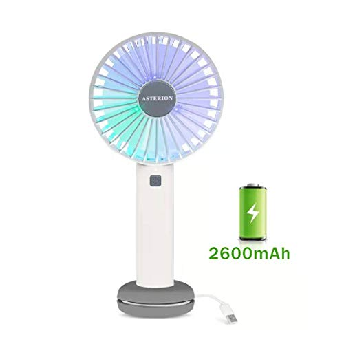 ASTERION Portable Handheld Fan, 2600mAh Personal Battery Rechargeable USB Fan with Storage Base 3 Speeds Colorful Lights for Office Home Traveling Camping Outdoor White