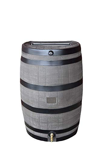 RTS Home Accents 50-Gallon Rain Water Collection Barrel with Brass Spigot, Wood Grain