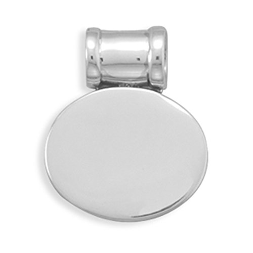 Oval Polished Engravable Pendant Tag Slide Sterling - Engravable Slide Oval