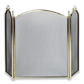 Uniflame 3 Fold Large Diameter Polished Brass Screen with Woven Mesh For Sale