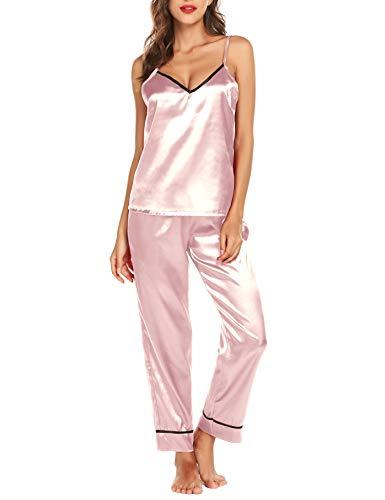 Romanstii Satin Pajamas Set Sleepwear Silk Nightwear Loungewear Lingerie Pink