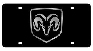(Dodge Ram framed License Plate on Black Steel)