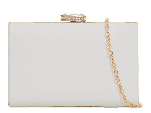 Bag Suede Ladies Women's Box Wedding Clutch Handbag Purse White Bridal Evening Style KZ672 f66FRg