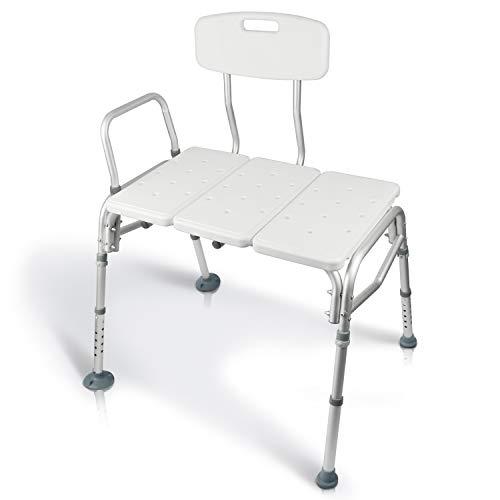 Vive Bariatric Tub Transfer Bench - Heavy Duty Bath & Shower Assist - Adjustable Handicap Shower Chair - Medical Bathroom Accessibility Aid for Elderly, Disabled, Seniors