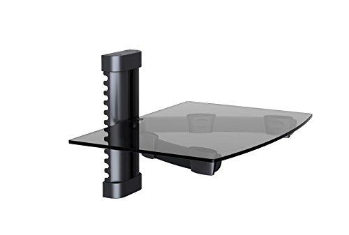 NDA-Electronics Floating Tempered Glass Rack Shelf Stand Wall Mount Bracket TV DVR DVD Cable Box Black (Video Digital Recorder Rack)