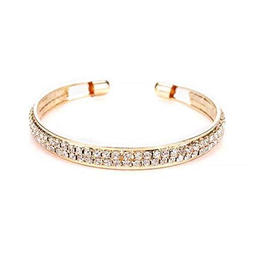 (TMROW 2 Rows Shining Crystal Stretch Wide Bracelets for Women Elastic Force Open Tennis Bracelet )