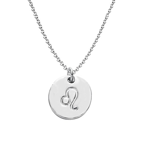 - Getlace 925 Sterling Silver Zodiac Leo Necklace Disc Charm Necklace (Leo)