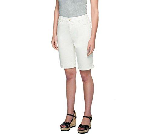 Liz Claiborne NY Jackie 5 Pocket 10 Inseam Shorts A254846, Cream, 4