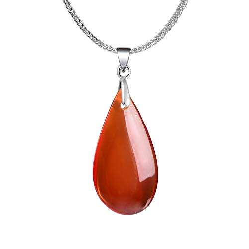iSTONE 925 Sterling Silver Natural Gemstone Red Agate Water Drop Shape Pendant Necklace Gemstone Birthstone with 18