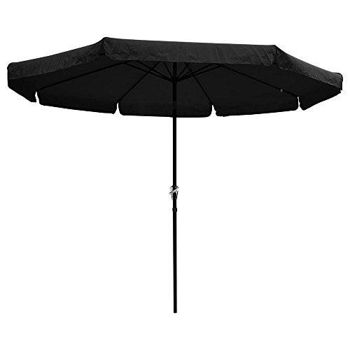 Reory Outdoor Patio Umbrella, 10 ft. Aluminum Outdoor Patio Umbrella with 帷幔 Crank Sloping Deck Market Courtyard Beach Pool Cafe Black
