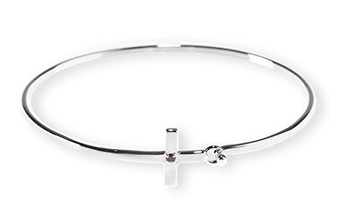 January Cubic Zirconia Garnet Sideways Cross Women's Silver-Plated Birthstone Bangle Bracelet (January Birthstone Cross)