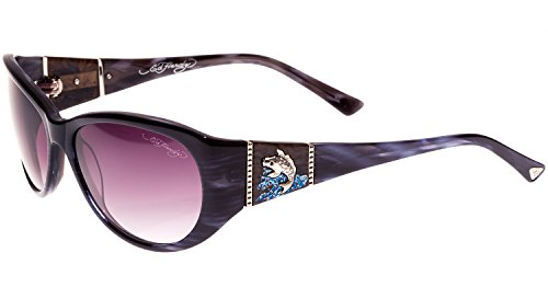 Ed Hardy Jumping Koi Sunglasses Grey Horn Purple Gradient 58 16 130