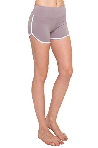 ALWAYS Women Riverdale Merchandise Shorts - Premium Buttery Soft Stretch Dolphin Yoga Workout Cheerleader Dance Volleyball Short Pants with Stripes Lilac Grey White L
