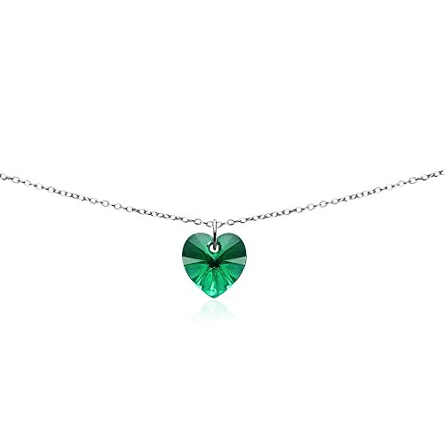 GemStar USA Sterling Silver Green Heart Choker Necklace Made with Swarovski Crystals
