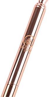 Metallkugelschreiber , Rotgold//Silber-B/ürobedarf , Schwarze Tinte Rose Gold-Stift mit gro/ßem Diamant//Kristall