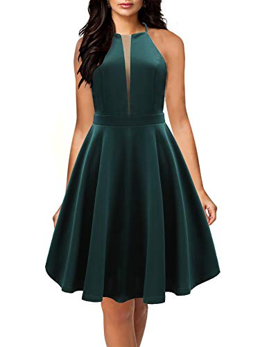Yikomi Women's Vintage A-Line Sleeveless Cocktail Prom Party Swing Dress K013 (L, Deep Green)
