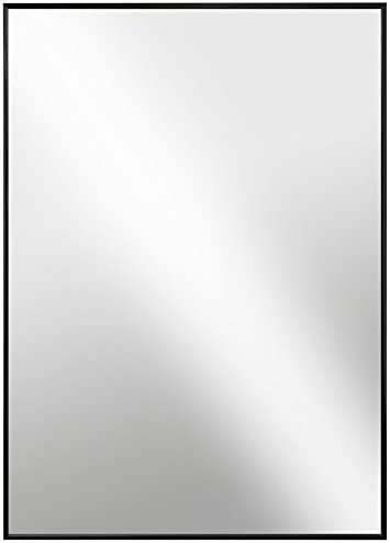 Raphael Rozen , Modern Hanging Framed Wall Mounted Metal Mirror, 30×40, Black Glossed Aluminum