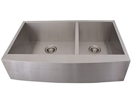 Ticor 4411BG 36-inch 16-gauge Curved Front Double Bowl Stainless ...
