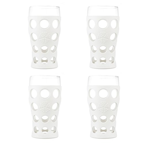 Lifefactory 20-Ounce BPA-Free Indoor and Outdoor Glassware 4-Pack with Protective Silicone Sleeve, Optic White (Beverage Drinking Glasses)