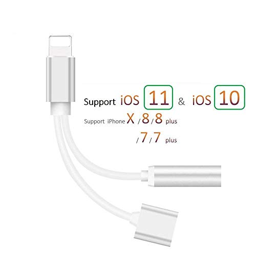 Headphone Jack Adapter for iPhone Adapter Earphone Audio Splitter and Charge Connector for iPhone X/7/7 Plus /8/8 Plus Support to Listen Music and Charge Replacement for iOS 11.4 System -Sliver