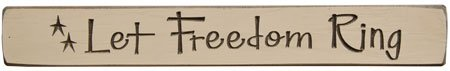 Let Freedom Ring Engraved Block With Stars Painted Distressed Wood Patriotic Americana Country Décor