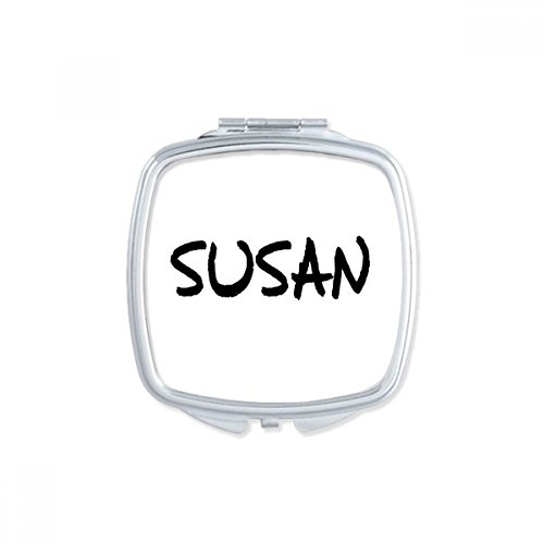 (DIYthinker Special Handwriting English Name SUSAN Square Compact Makeup Pocket Mirror Portable Cute Small Hand Mirrors Gift)
