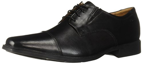 Clarks Men's Tilden Cap Oxford Shoe,Black Leather,9.5 M - Rub Black Through Finish