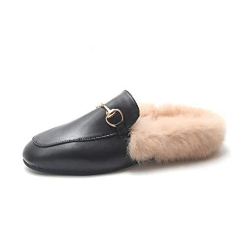 Pu Plein Fourrure Intérieur Slip Pantoufles Coton Femmes slip Hiver Fausse En Beige Mule Furry Chaud Non Mocassins Air Chaussures Rw5wp6xYq