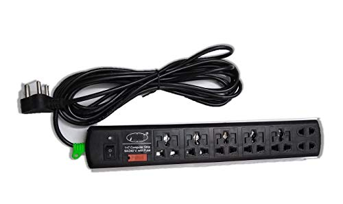 FPR 6 AMP 240 Volts 7 in 1 Extension Cord with Indicator  5 Meter Wire, Black