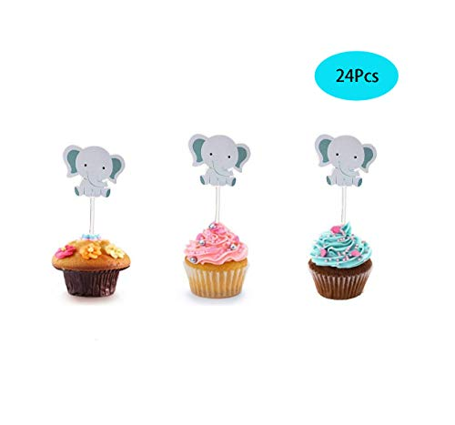 24Pcs Cute Baby Elephant Cupcake Toppers Birthday Party or Baby Shower Food Picks Decor And Cupcake Party Pick (Elephant Birthday Party)
