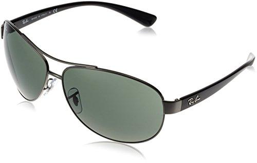 Ray-Ban RB 3386-004/71 Gunmetal-Grey Metal-Frame Sunglasses With Grey Green Lenses- 67mm (67 Mm Metal)
