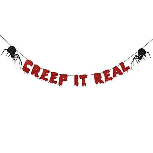 Diy Scary Halloween Decorations For Yard (Red Glittery Creep It Real Banner-Halloween Party Decor Haunted House)