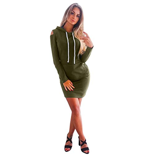 Mlide Women Off-The-Shoulder Mini Dress With Pocket,Long Sleeve Strapless Hooded A-Line Dress(Army Green,Medium) by Mlide (Image #7)