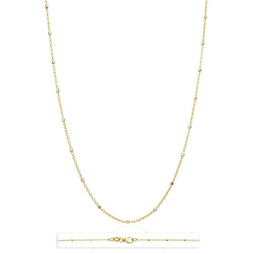 - 14K Solid Yellow White Rose Gold Cable Link Saturn Beads Station Chain 16