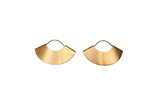 Boho Bohemian Fan Earrings for Women Geometric Dangle Drop Half Round African Tribal Ethnic Jewelry (Gold Regular -