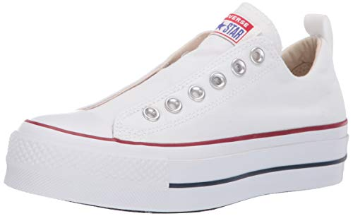Converse Women's Chuck Taylor All Star Lift Slip Sneaker, White/Red/Blue, 8.5 M -