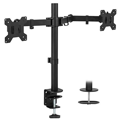 Mount-It! Dual Monitor Mount | Double Monitor Desk Stand | Two Heavy Duty Full Motion Adjustable Arms Fit 2 Computer Screens 17 19 20 21 22 24 27 Inch | VESA Compatible | C-Clamp and Grommet Base ()
