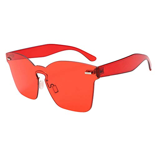 JJLIKER Rimless One Piece Clear Tinted Sunglasses Oversized Fashion Flat Lens Beach Outdoor Vacation for Men and Women Red