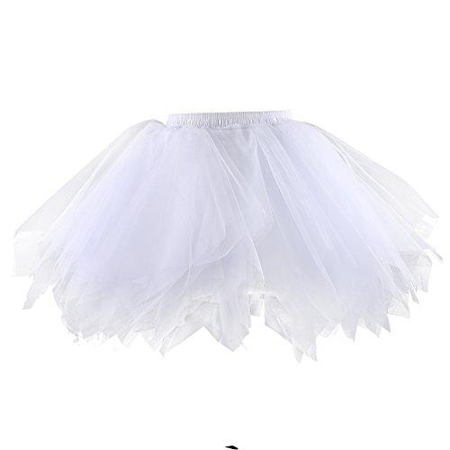 Suroomy Women 50s Petticoat Skirts Multi-layer Ballet Bubble Tutu Crinoline Underskirt White S/M