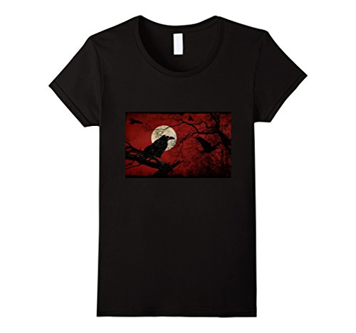 Womens Scary Vintage Raven Tree Halloween Costume T-Shirt XL (Scary Vintage Halloween Costumes)