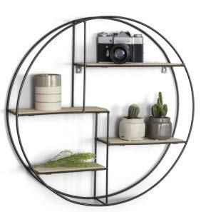 info for ed155 b2300 LIFA LIVING Round Wall Shelf Unit | 4 Tier Floating Shelves for Kitchen  Bedroom Living Room | Wooden & Black Metal Mounted Shelves | Decorative ...