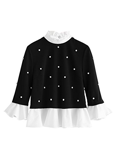 ROMWE Women's Ruffle Trim Contrast Stand Collar Pearl Embellished Blouse Top Black (Embellished Ruffle)